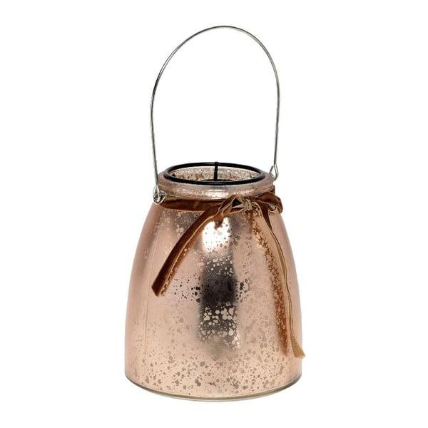Sklenený lampáš Copper, 13x13x15 cm