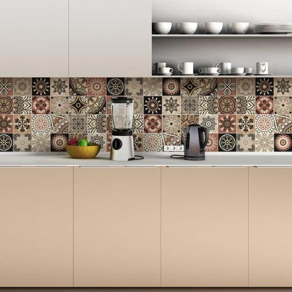Sada 24 nástenných samolepiek Ambiance Wall Stickers Tiles Piura, 15×15 cm