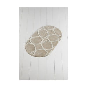 Svetlobéžová kúpeľňová predložka Confetti Bathmats Bonne Oval Rock, 60 x 100 cm
