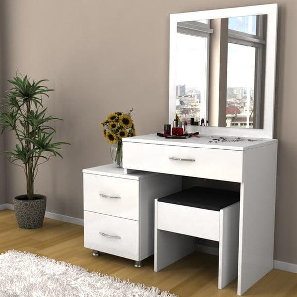 Sada toaletného stolíka a pufu Nice White