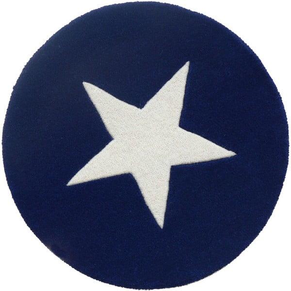 Vlnený koberec Star Blue, 130 cm