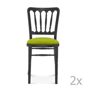 Sada 2 čiernych drevených stoličiek so zeleným čalúnením Fameg Malene
