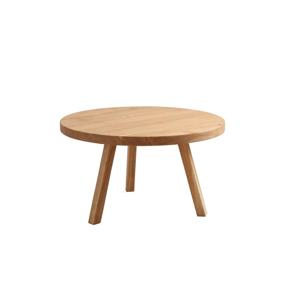 Konferenčný stolík z dubového masívu Custom Form Treben, priemer 80 cm