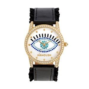 Dámske hodinky s čiernym koženým remienkom Manoush Envy