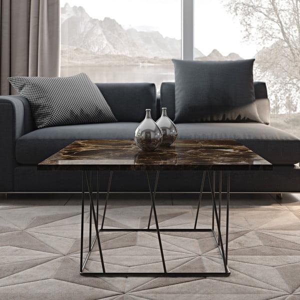 Hnedý mramorový konferenčný stolík s čiernymi nohami TemaHome Helix, 75cm