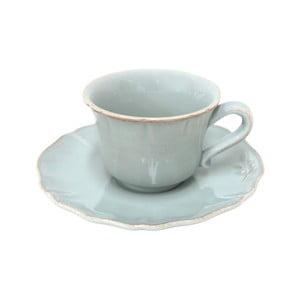 Keramická šálka na čaj s tanierikom Alentejo 220 ml, tyrkysová