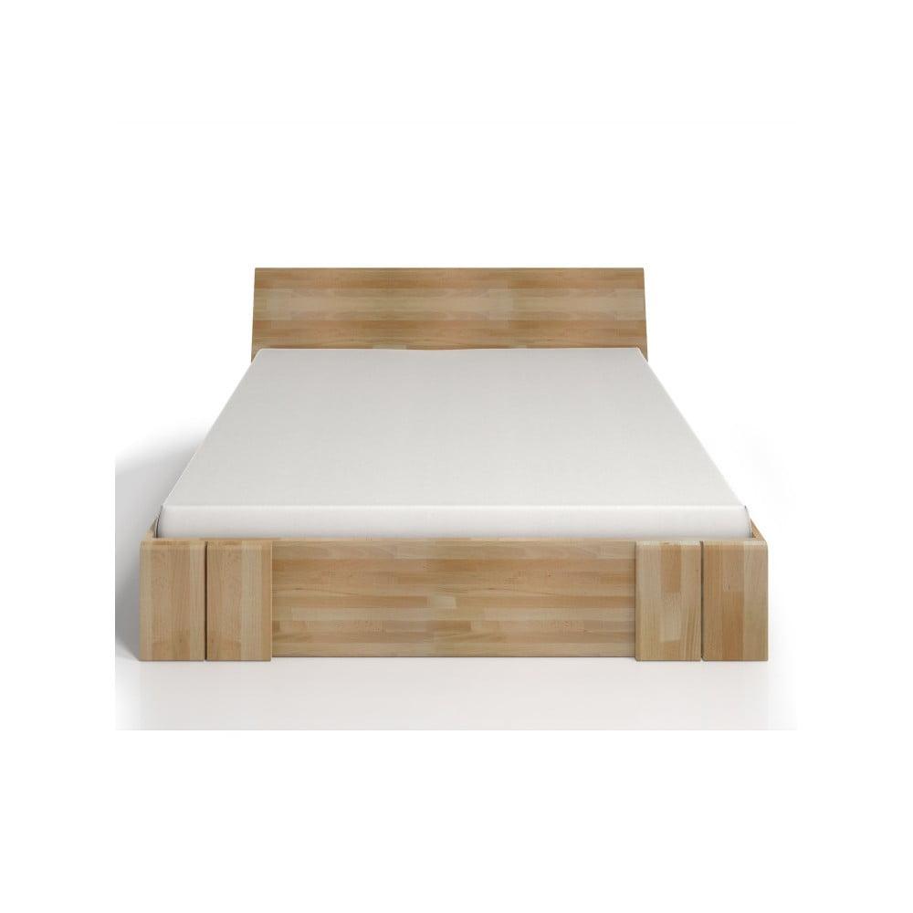 Dvojlôžková posteľ z bukového dreva so zásuvkou Skandica Vestre Maxi, 200 × 200 cm