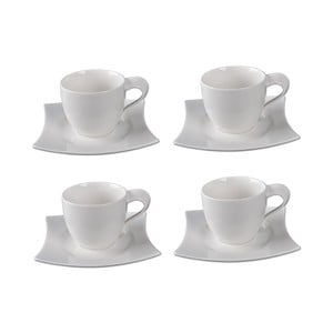 Sada 4 porcelánových šálok s tanierikmi Sola Sandra, 250 ml