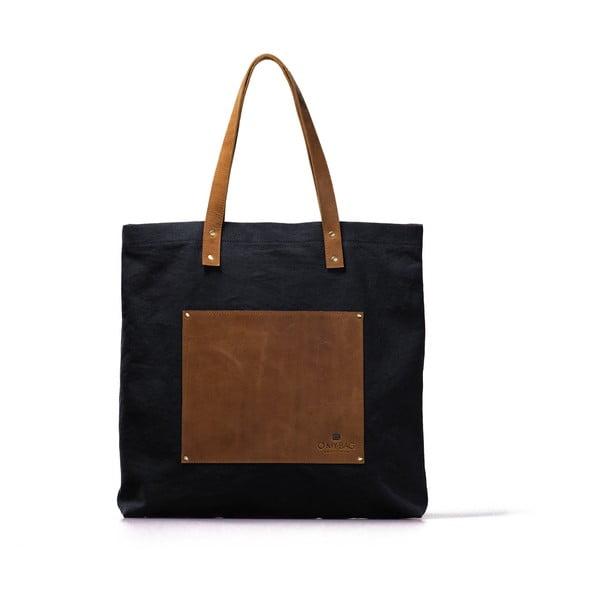 Modro-hnedá kožená vintage maxi taška O My Bag Lou's