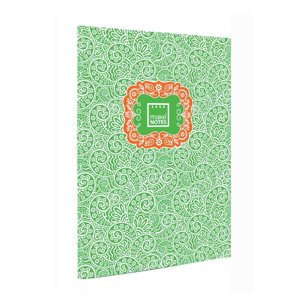 Zelený osobný organizér A4 Makenotes Paisley One, 40 listov
