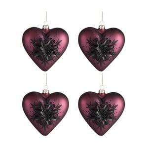 Sada 4 vianočných ozdôb v tvare srdca Auberg
