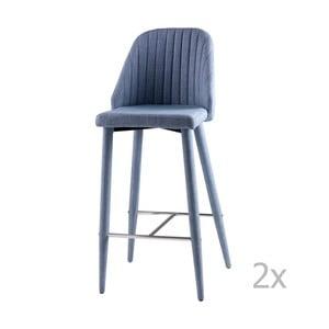 Sada 2 svetlomodrých barových stoličiek sømcasa Cassie
