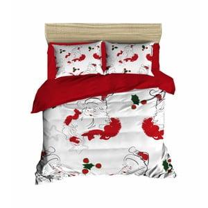 Vianočné obliečky na dvojlôžko s plachtou Marcia, 160×220 cm