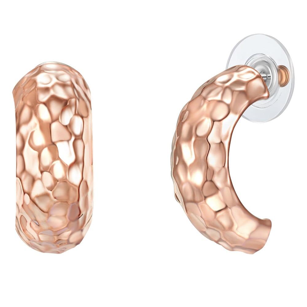 Dámske náušnice vo farbe ružového zlata Runaway Snake