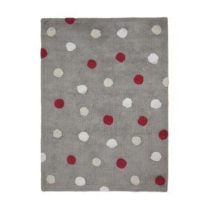 Sivý bavlnený ručne vyrobený koberec s červenými bodkami Lorena Canals Polka, 120 x 160 cm