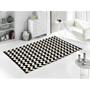Čierny koberec ZigZag 80 x 150 cm