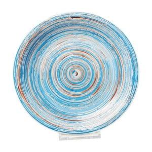 Modrý kameninový tanier Kare Design Swirl, Ø 27 cm