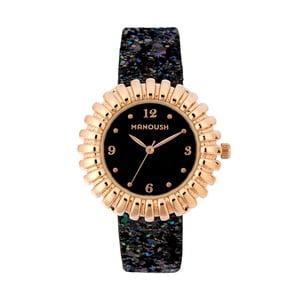 Čierne vzorované dámske hodinky s koženým remienkom Manoush Sunny