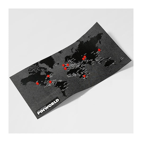 Čierna nástenná mapa sveta Palomar Pin World Mini, 77 x 48cm