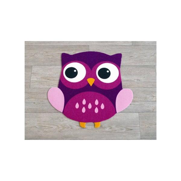 Detský fialový koberec Sova, 66×66cm
