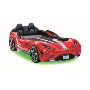 Červená detská posteľ v tvare auta so zeleným osvetlením Fast GTS Carbed Red