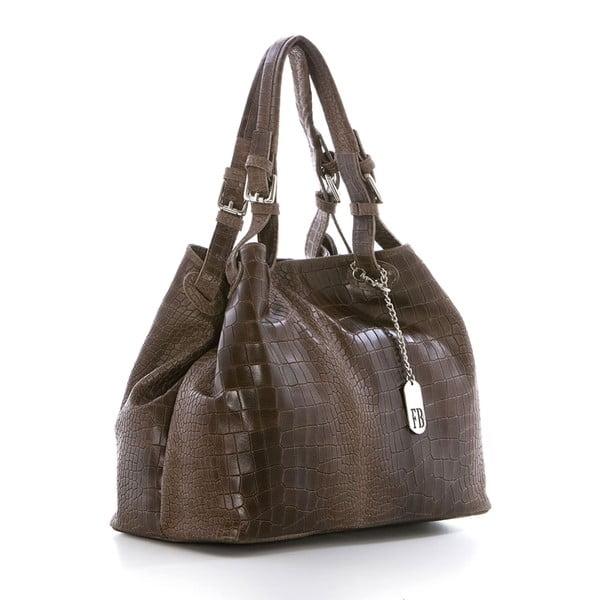 Hnedá kožená kabelka Federica Bassi Hébe