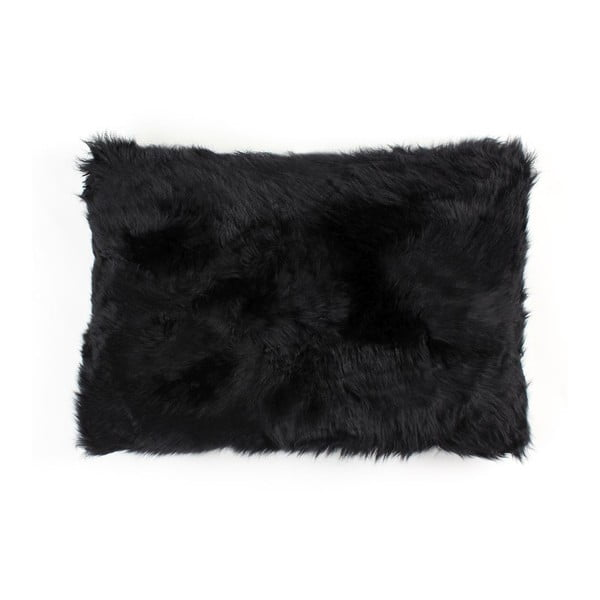 Kožušinový vankúš Black, 40x60 cm
