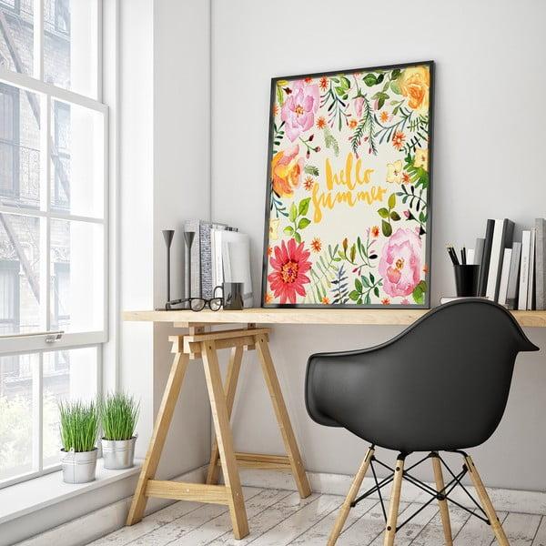 Plagát s kvetmi Hello Summer, biele pozadie, 30 x 40 cm