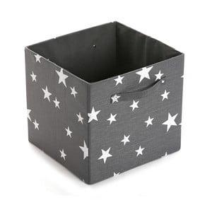 Štvorcový odkladací box Stars Dark Grey