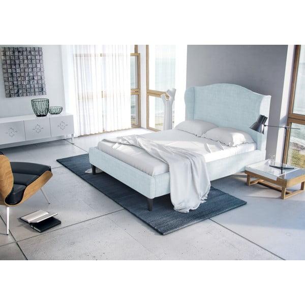 Pastelovomodrá posteľ VIVONITA Windsor 180x200cm, prírodné nohy