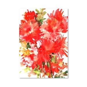 Autorský plagát Red Dahlias od Surena Nersisyana, 42 x 30 cm