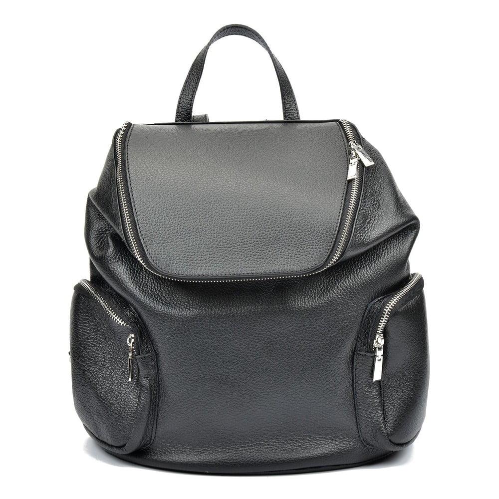 Čierny kožený batoh Luisa Vannini Gemma