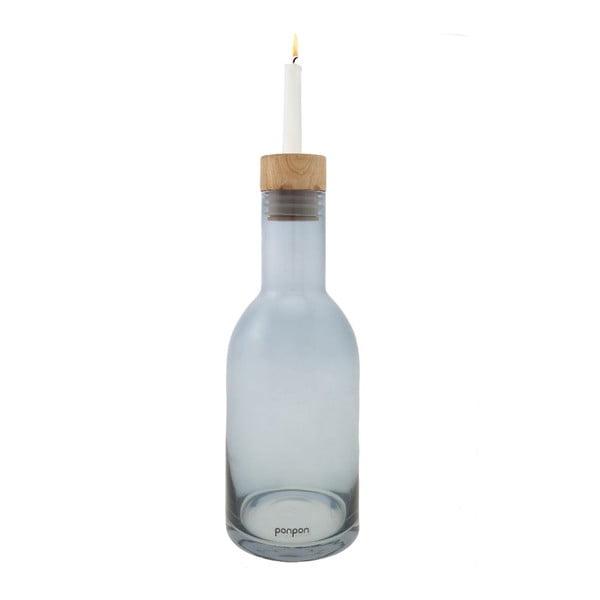 Váza/svietnik Bottle 30,5 cm, modrá