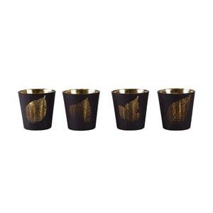Sada 4 sklenených svietnikov KJ Collection Black With Gold