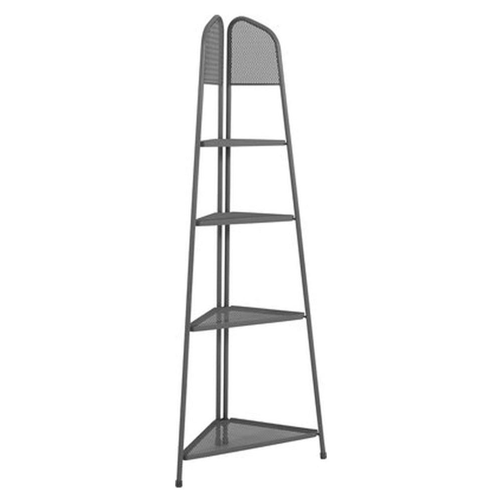 Tmavosivá kovová rohová polica na balkón ADDU MWH, výška 180 cm