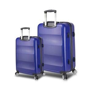 Sada 2 modrých cestovných kufrov na kolieskach s USB porty My Valice LASSO Cabin & Large