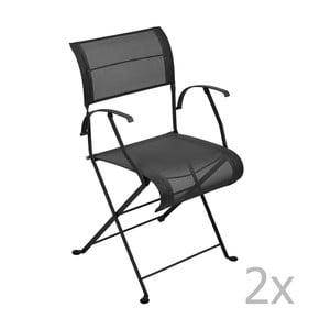 Sada 2 čiernych skladacích stoličiek s opierkami na ruky Fermob Dune