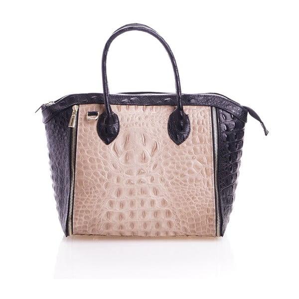 Kožená kabelka Marina, béžová/čierna