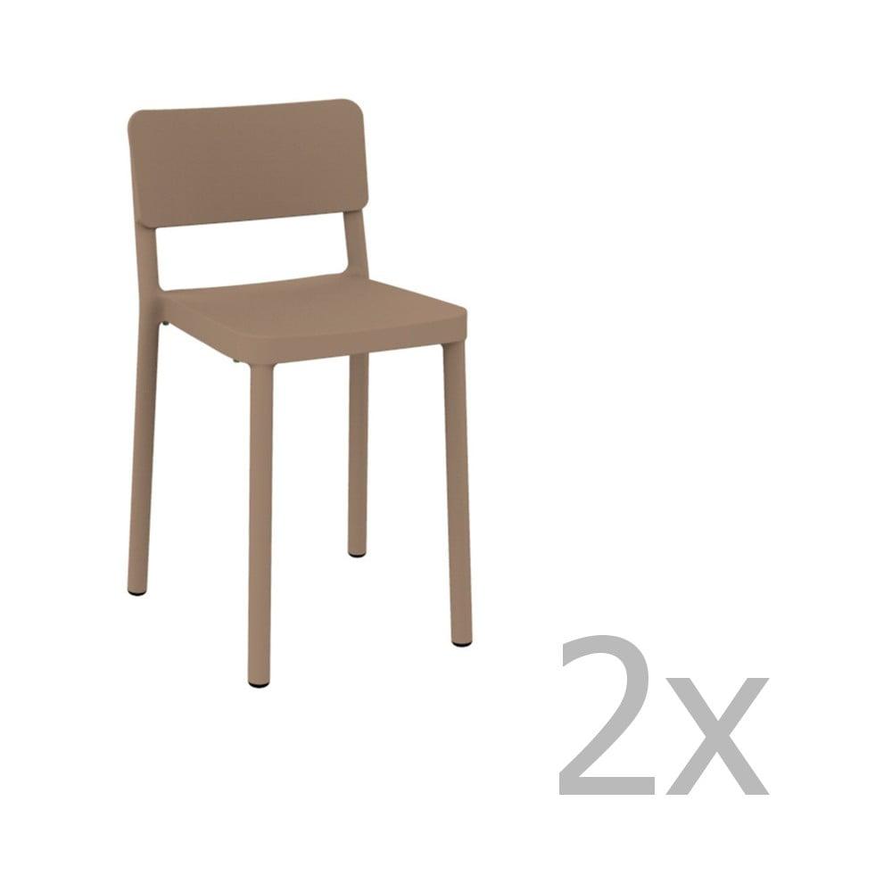 Sada 2 pieskovohnedých barových stoličiek vhodných do exteriéru Resol Lisboa, výška 72,9 cm