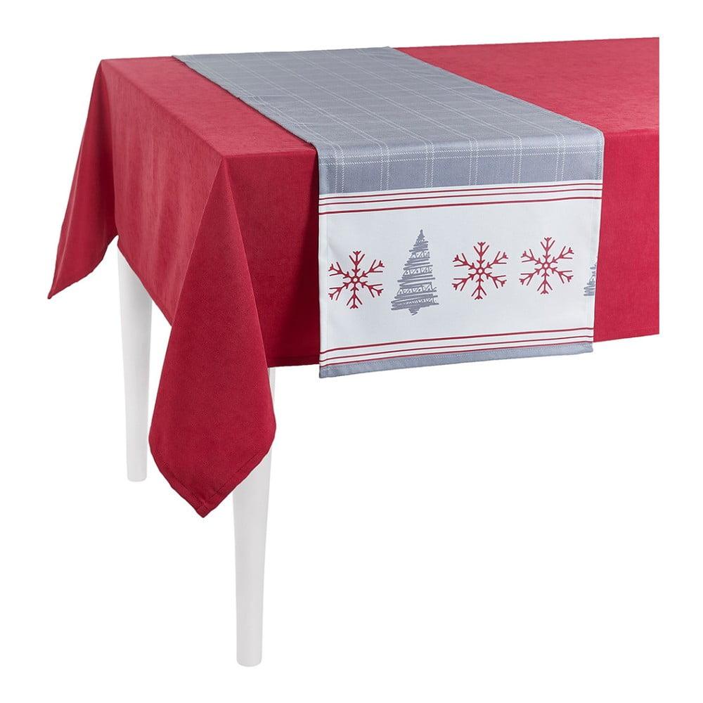Sivý vianočný behúň na stôl Apolena Honey Snowflakes, 40 × 140 cm