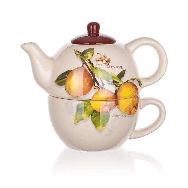 Keramická konvička so šálkou Banquet Lemon, 360/300ml