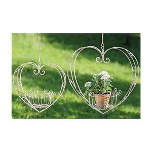 Sada 2 závesných kvetináčov zo železa Boltze Heart