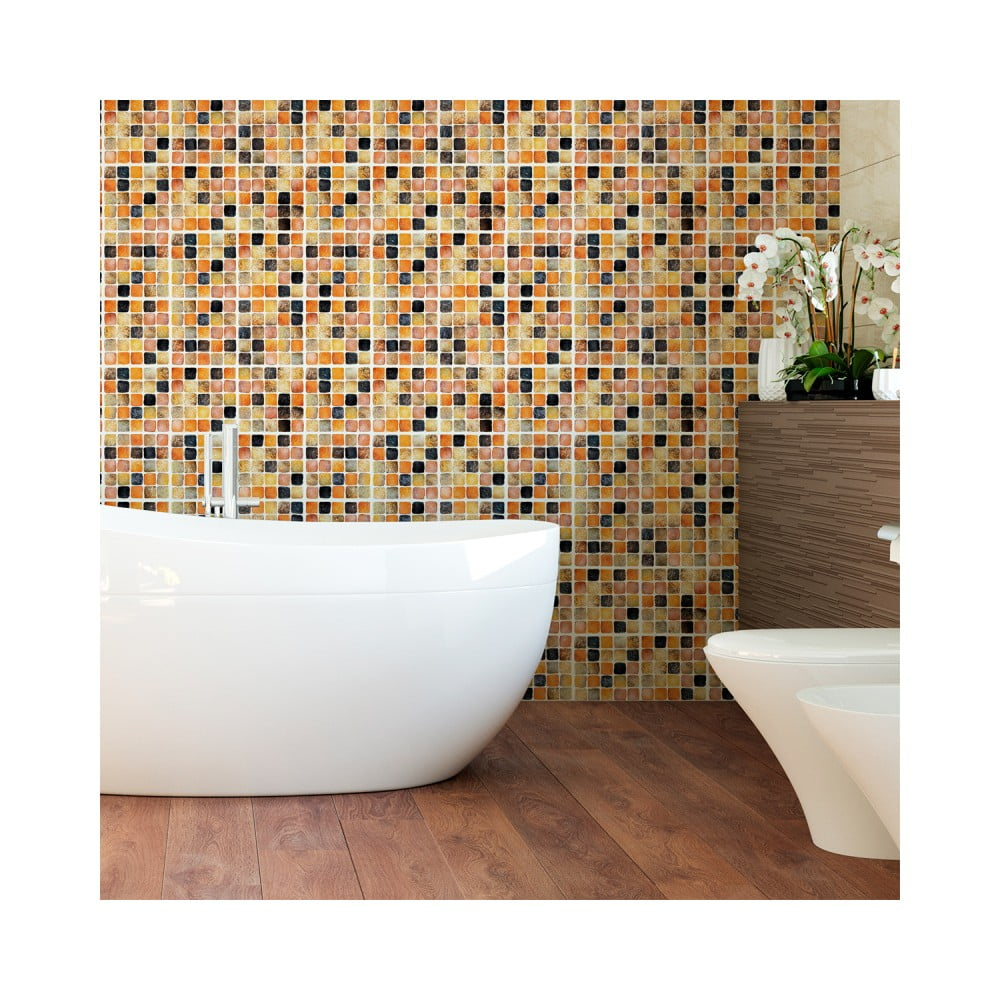Sada 9 nástenných samolepiek Ambiance Wall Decal Tiles Mosaics Sanded Grade, 15 × 15 cm