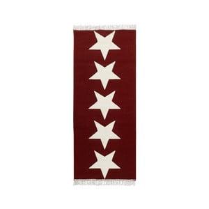Koberec Fringe - červené hviezdy, 80×200 cm