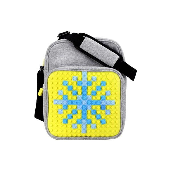 Pixelová taška cez rameno, grey/yellow