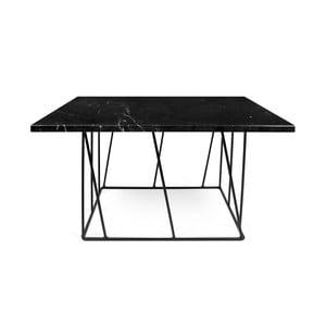 Čierny mramorový konferenčný stolík s čiernymi nohami TemaHome Helix, 75cm