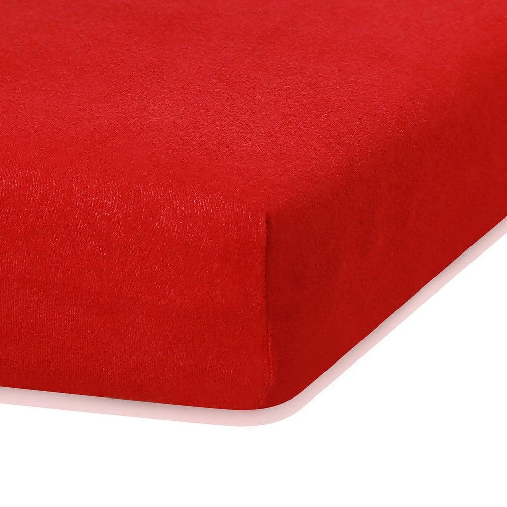Červená elastická plachta s vysokým podielom bavlny AmeliaHome Ruby, 200 x 140-160 cm