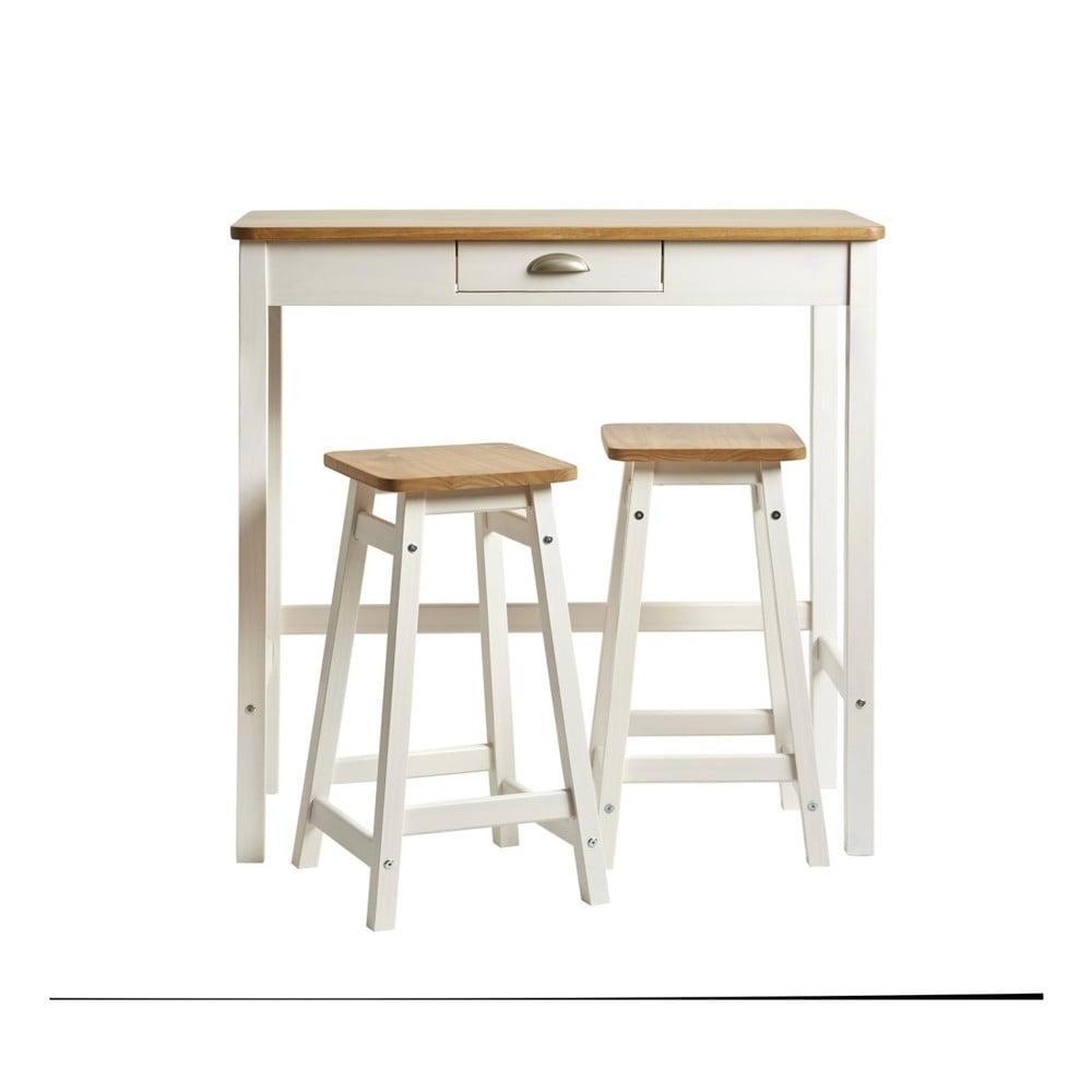 1a7317ba15971 Biely barový stolík s 2 stoličkami z masívneho borovicového dreva Marckeric  Caya