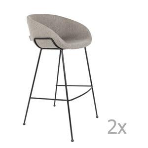 Sada 2 sivých barových stoličiek Zuiver Feston, výška sedu 76 cm