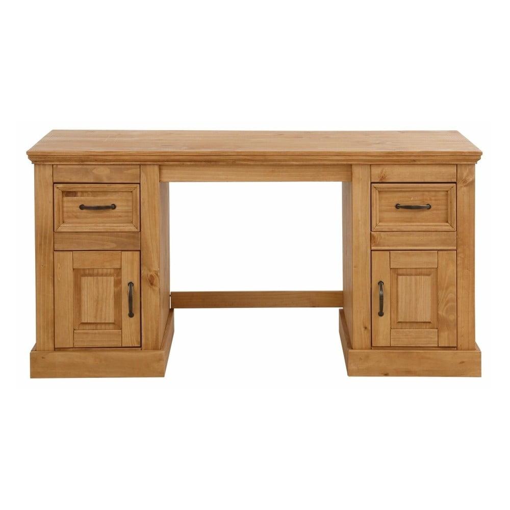 Hnedý písací stôl z masívneho borovicového dreva Støraa Suzie